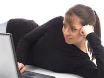 Mulher com portátil Fotos de Stock Royalty Free