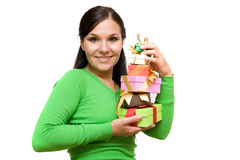 Mulher com presente Fotografia de Stock