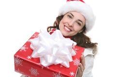 Mulher com presente de Natal imagens de stock royalty free