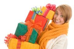Mulher com presentes Fotos de Stock Royalty Free