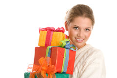 Mulher com presentes Foto de Stock Royalty Free