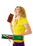 Mulher com presentes Fotografia de Stock Royalty Free