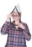 Mulher com régua de dobradura Imagem de Stock Royalty Free
