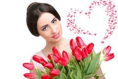 Mulher com ramalhete da tulipa Imagens de Stock