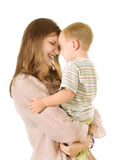 Mulher com rapaz pequeno imagens de stock royalty free