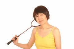 Mulher com raquete de badminton Fotografia de Stock