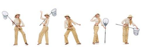 A mulher com rede de travamento no branco Foto de Stock