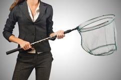 Mulher com a rede isolada no branco Imagens de Stock