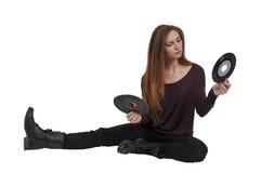 Mulher com registro do vinil 45 Imagem de Stock