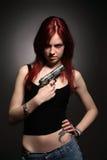 Mulher com revólver Imagens de Stock Royalty Free