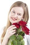 Mulher com roses.GN vermelho fotos de stock royalty free