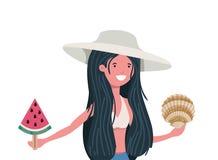 Mulher com roupa de banho e parcela de melancia à disposição ilustração do vetor