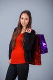 Mulher com saco de compra Imagens de Stock