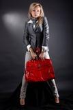 Mulher com saco vermelho Foto de Stock