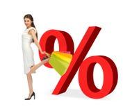 Mulher com sacos de compras e sinais de por cento Fotografia de Stock