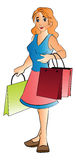 Mulher com sacos de compras, ilustração Foto de Stock