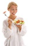 Mulher com salada fotografia de stock