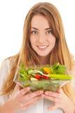 Mulher com salada fresca para a dieta Imagem de Stock Royalty Free