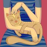 Mulher com seu gato Fotos de Stock Royalty Free