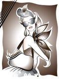 Mulher com seus acessórios elegantes ilustração royalty free