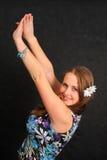 Mulher com seus braços aumentados Foto de Stock Royalty Free