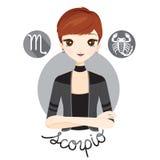 Mulher com sinal do zodíaco da Escorpião ilustração stock