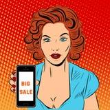 Mulher com smarthone ilustração royalty free