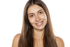 Mulher com sorriso falso Fotos de Stock
