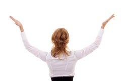 Mulher com suas mãos no ar Fotografia de Stock Royalty Free