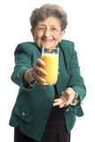 Mulher com suco Fotografia de Stock