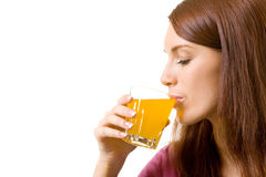 Mulher com suco Imagens de Stock