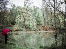 Mulher com suportes de guarda-chuva vermelhos ao lado de um lago imagens de stock royalty free