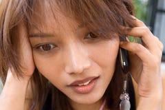 Mulher com telefone Fotografia de Stock