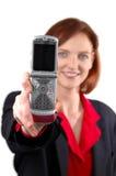 Mulher com telefone de pilha fotografia de stock