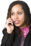Mulher com telefone de pilha Imagem de Stock