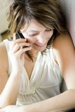 Mulher com telefone móvel Imagem de Stock