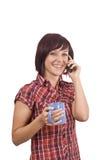 Mulher com telemóvel imagem de stock royalty free