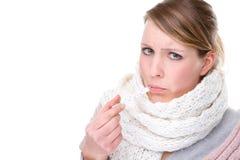 Mulher com termômetro clínico foto de stock royalty free