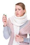 Mulher com termômetro clínico fotos de stock