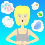 Mulher com teste de gravidez Fotos de Stock Royalty Free