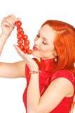 Mulher com tomates de cereja Foto de Stock Royalty Free