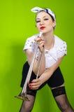 Mulher com tubulação Imagem de Stock Royalty Free