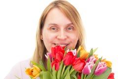 Mulher com tulipas fotos de stock royalty free