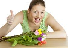 Mulher com tulips Imagem de Stock
