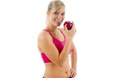 Mulher com um Apple Foto de Stock