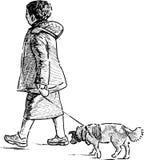 Mulher com um cão Fotos de Stock Royalty Free