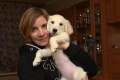 Mulher com um cachorrinho de Labrador Imagem de Stock
