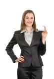 Mulher com um cartão. Isolado no branco Fotografia de Stock
