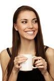 A mulher com um copo fotos de stock