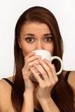 A mulher com um copo foto de stock royalty free